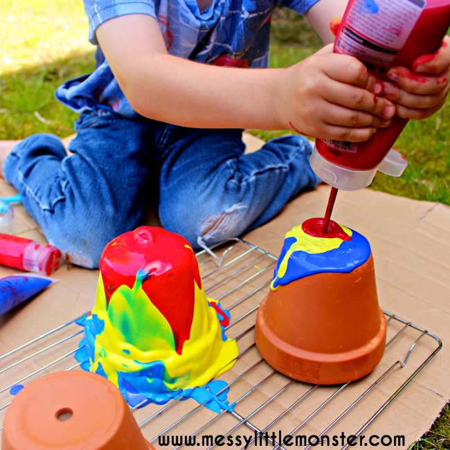 Pour painting flower pot messy little monster for Best paint for outdoor crafts