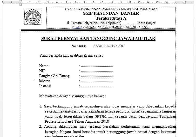Contoh Surat Pernyataan Tanggung Jawab Mutlak Sptjm Atau Fakta