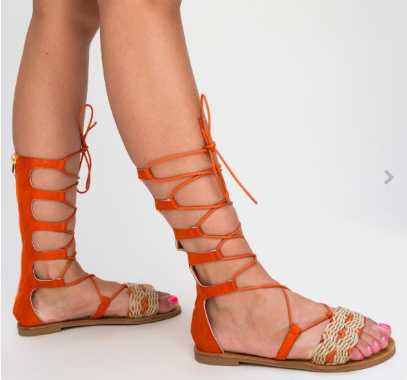 Sandale portocalii cu talpa joasa model inalt gladiator