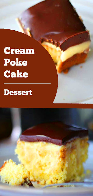 Cream Poke Cake - yellow buttery cake  filled with a french vanilla cream pudding and frosted with rich chocolate. #cream #poke #cake #pokecake #dessert