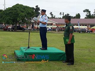 Danlanud Sultan Iskandar Muda, Kolonel Nav Indrastanto Setiawan, S.Sos membacakan pesan Kasad pada Upacara Penutupan TMMD ke-103 Kodim 0102 Pidie Jaya