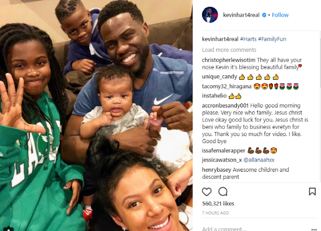 Kevin Hart shares beautiful new photo with his wife and kids