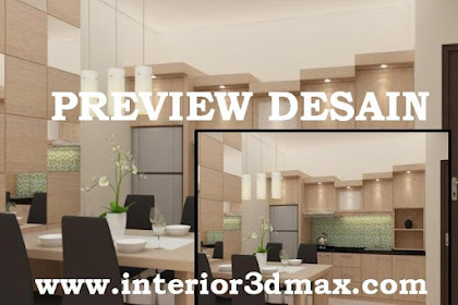 Jasa desain perspektif 3d area dining room dapur ruko lantai atas