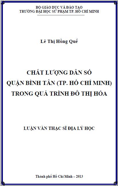 Chất lượng dân số quận Bình Tân (thành phố Hồ Chí Minh) trong quá trình đô thị hóa
