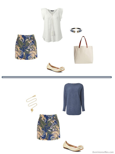 2 ways to wear a floral skirt from a 6-Pack Wardrobe