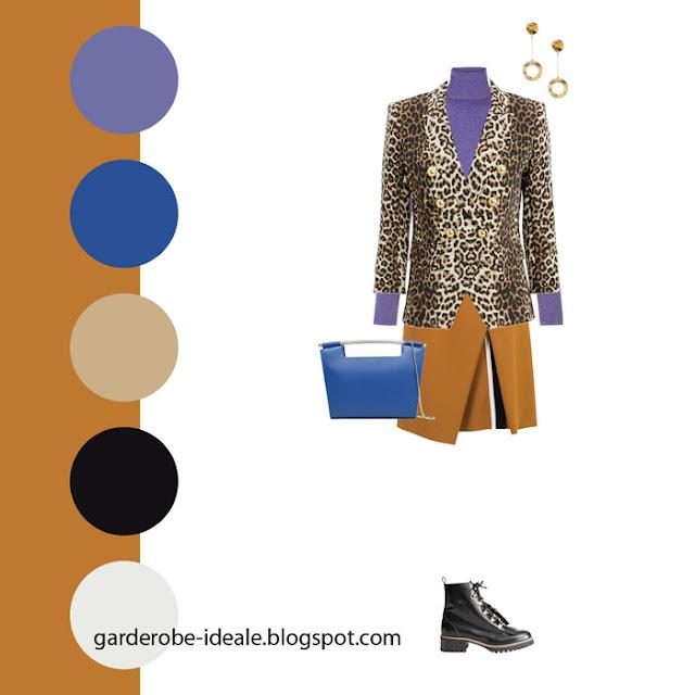Сочетание горчичной юбки, фиолетовой водолазки и синей сумки с леопардовым жакетом
