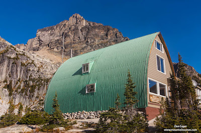 The Conrad Kain Hut below Eastpost Spire, Bugaboo Provincial Park, British Columbia, Canada.