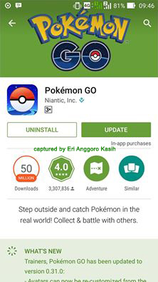 Screen Capture Pokemon GO di Play Store.