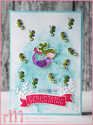 Stampin' Up! rosa Mädchen Kulmbach: Geburtstagskarte mit Meerjungfrau aus Zauberhafter Tag, Perfekter Geburtstag und Grüße rund ums Jahr