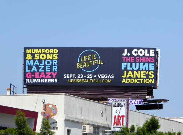 Life is Beautiful Las Vegas concert billboard
