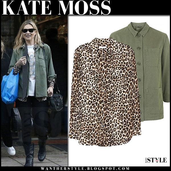 Kate Moss in green canvas topshop shirt, leopard print equipment blouse and black jeans what she wore streetstyle