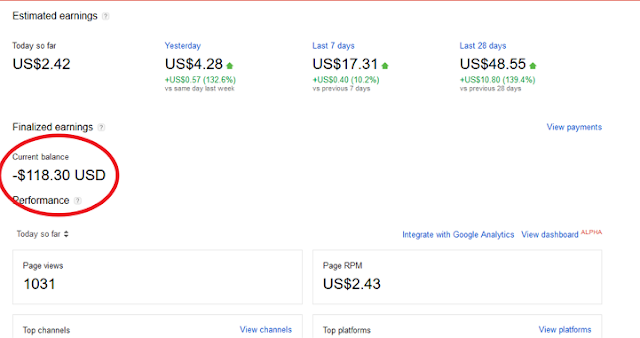 AdSense is Showing Negative Balance  To Almost Bloggers (Reason)