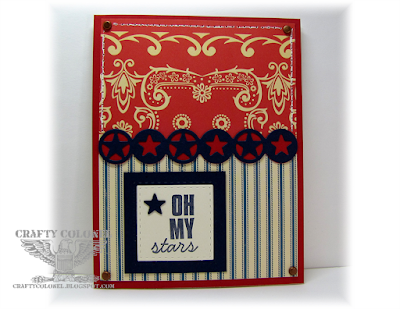 CraftyColonel Donna Nuce for Cards in Envy Red and blue color challenge.  Amuse Studios Southern Sass sentiment.