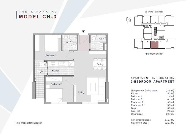 Căn 03 - 67.97m2 - 2 phòng ngủ (BC Tây Nam)