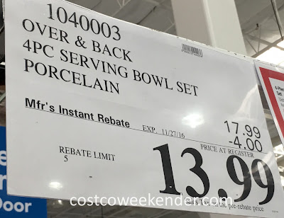 Deal for the 4 piece overandback Porcelain Serving Bowl Set at Costco