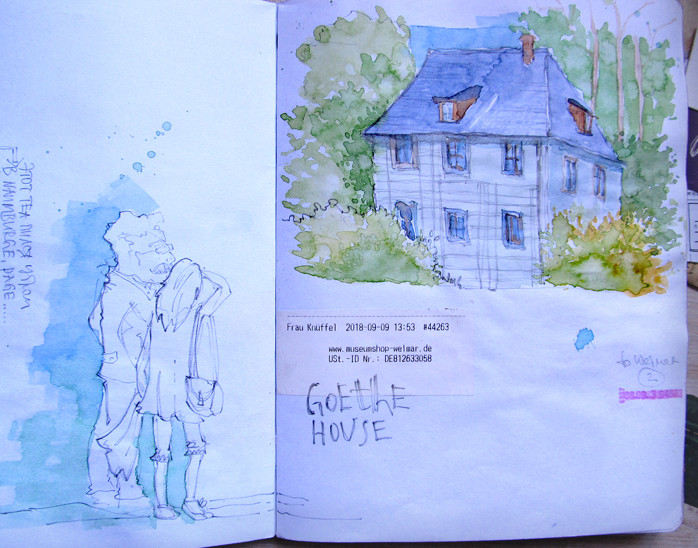 Weimar travel sketchbook Goethe house