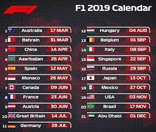 Calendario-F1-2019. Calendario completo de Formula Uno 2019