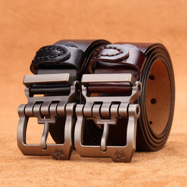 Genuine Leather Personality Men belt Buckle Quality Male Brown Strap Vintage Jeans