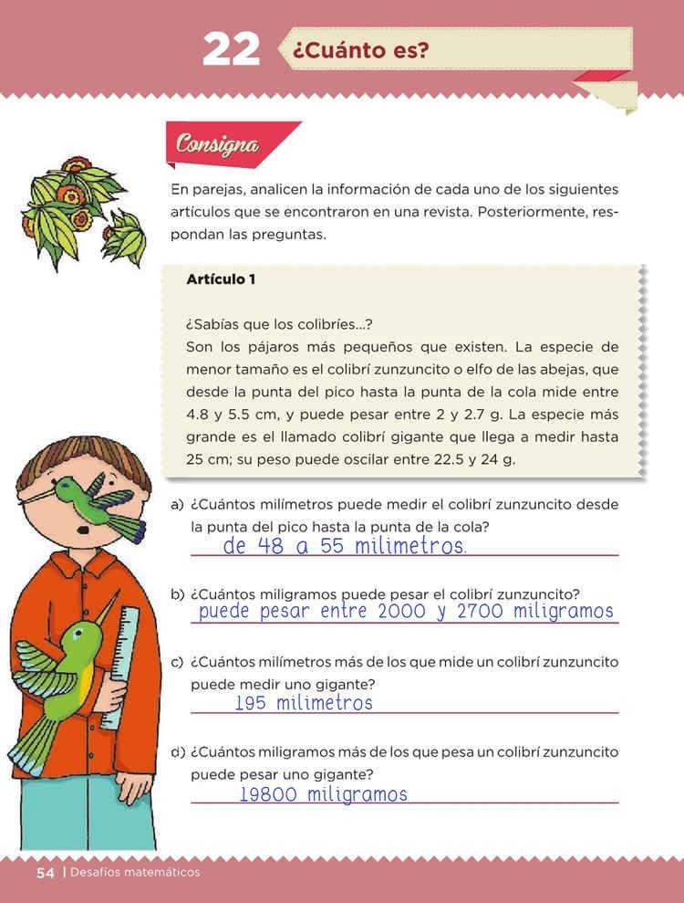 ¿Cuánto es? -Desafío 22-  Desafíos Matemáticos Quinto grado Contestado
