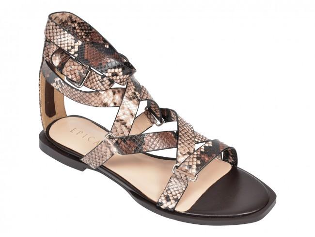 Sandale EPICA cu talpa joasa si imprimeu de sarpe din piele naturala