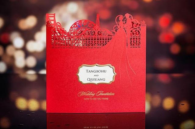 red laser cut wedding invitation card, malaysia printing service, kuala lumpur, elegant, bespoke, insert, cetak, affordable, personalised, personalized, handmade, hand crafted, hot stamping, couple, big ben, eifel tower, chinese, malay, western,