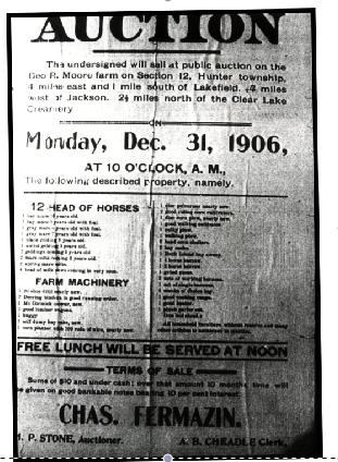 Fermazin Ancestry: Charles Fermazin selling farm Lakefield Minnesota 1906