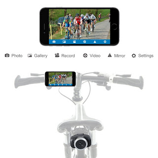Homscam Wifi Bike Camera Rear View Camera Electronic Wireless Bicycle Rearview Safety Backup Camera for iOS and Android System, Sports Action Camera for All Kinds of Bikes, Rechargeable and Waterproof