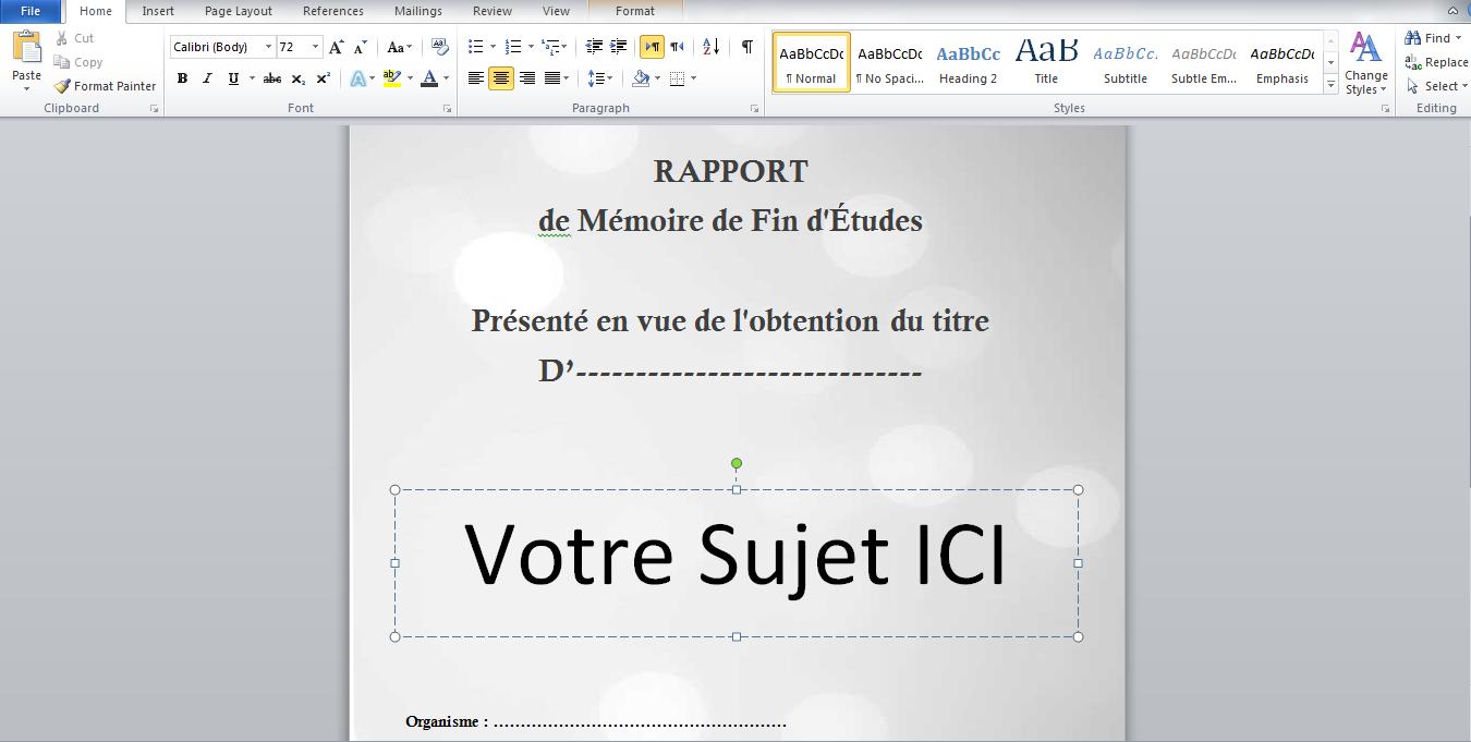 Exemple De Page De Garde Gratuit Word 2013