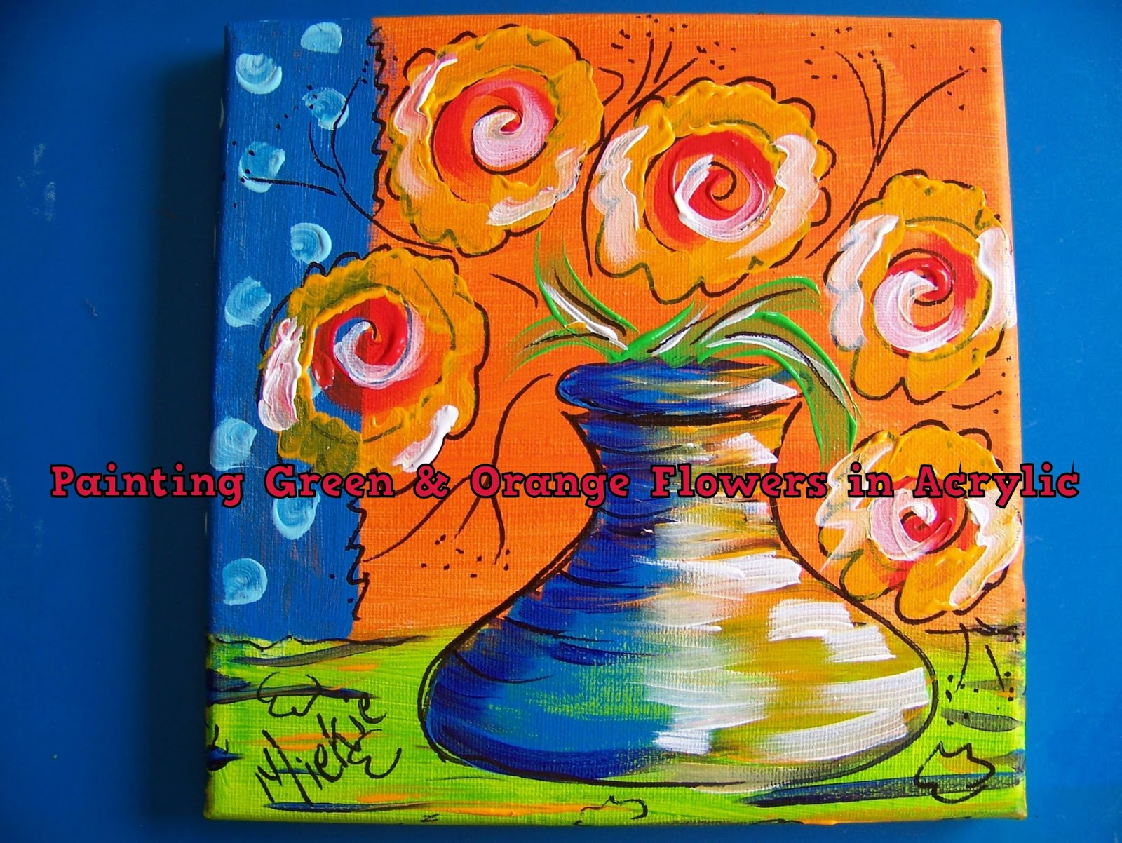 A Pretty Talent Blog Painting Naive Flowers On A Background Using