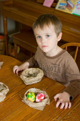 Paper Bag Easter Egg Nests