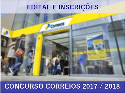 Inscrições abertas Edital correios 2017