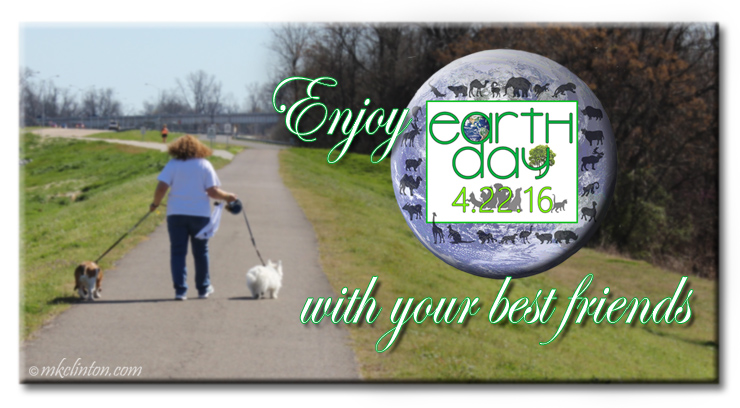 Women walking 2 dogs meme for Earth Day 2016