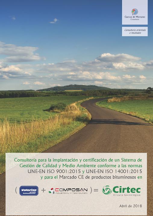 Portada del contrato por el que Cuevas y Montoto Consultores ayudará a Cirtec a implantar y certificar un Sistema de Gestión de Calidad y Medio Ambiente a las nuevas normas ISO 9001:2015 e ISO 14001:2015, además de ayudarles a obtener el Marcado CE de varios de sus productos más innovadores