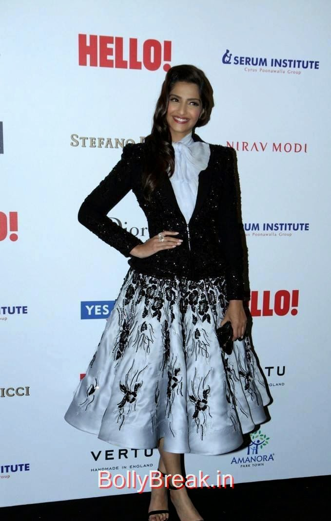 Hindi Actress Sonam Kapoor, Sonam Kapoor Hot Pics in Black & White Skirt from Hall Of Fame Awards 2014