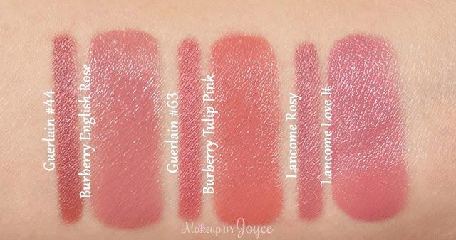 Guerlain Rose De Bulgarie 63 Bois De Santal 44 Lancome Rosy Lip Liner Swatches
