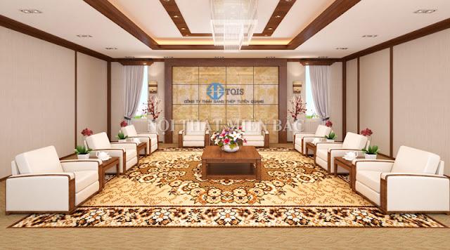 Thiết kế nội thất phòng khánh tiết sử dụng những gam màu tươi sáng lại tạo ra không gian hiện đại và thân thiện