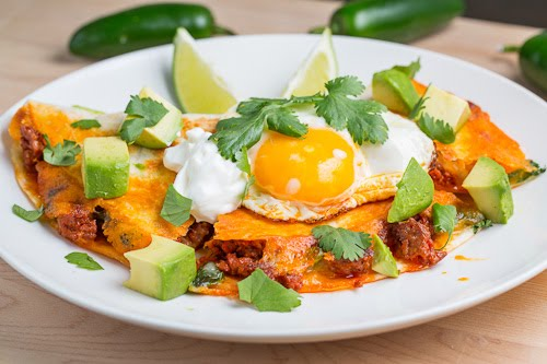 Breakfast Chorizo Quesadilla Topped with a Fried Egg
