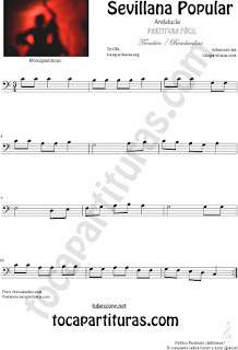 Sevillana Popular Partitura de Trombón, Tuba Elicón y Bombardino Sheet Music for Trombone, Tube, Euphonium Music Scores