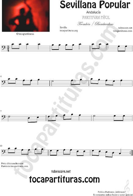 Sevillana Popular Partitura de Trombón, Tuba Elicón y Bombardino Sheet Music for Trombone, Tube, Euphonium Music Scores