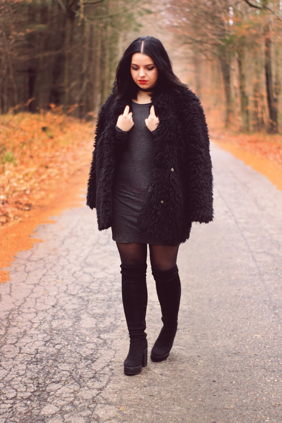 bodycon dress, charcoal bodycon dress, black fur