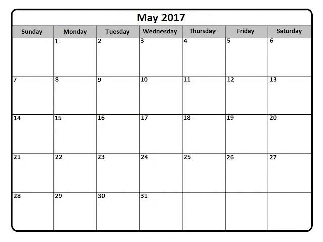 May 2017 Printable Calendar, May 2017 Calendar, May Calendar 2017, May 2017 Calendar Printable