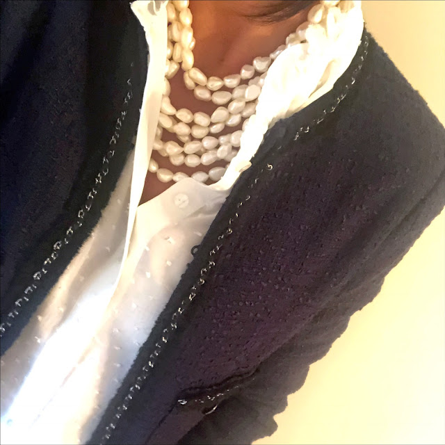 my midlife fashion, l k bennett halyna navy tweed jacket, pearl necklace, laura ashley dobby weave blouse, j crew iro jane cropped kick flare jeans, j crew pointed velvet flats