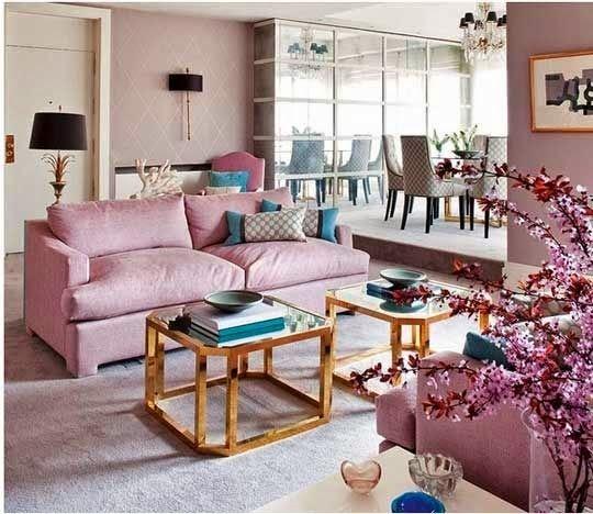 Diseño sala celeste rosa