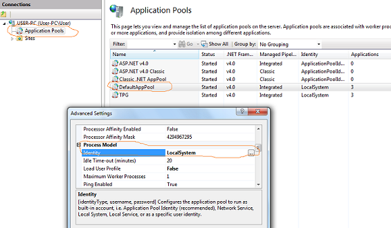 Login failed for user iis apppool default apppool System Data