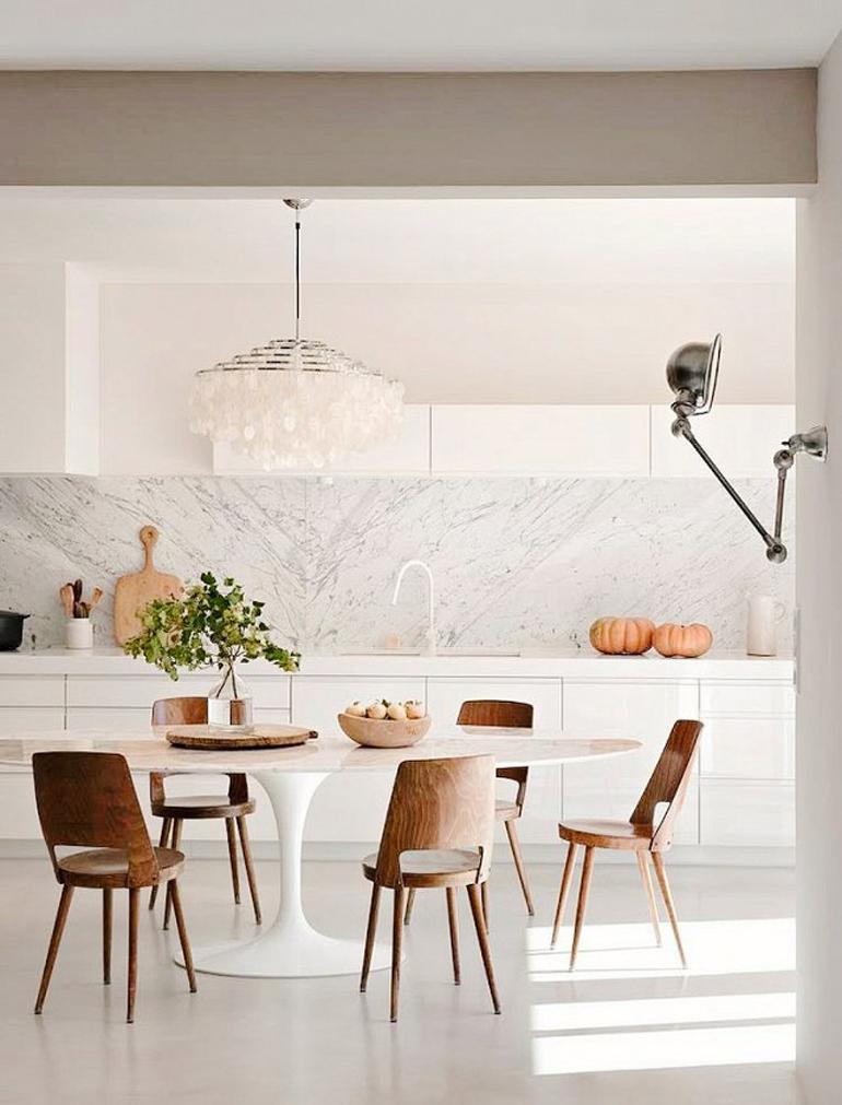 cocina blanco total con madera