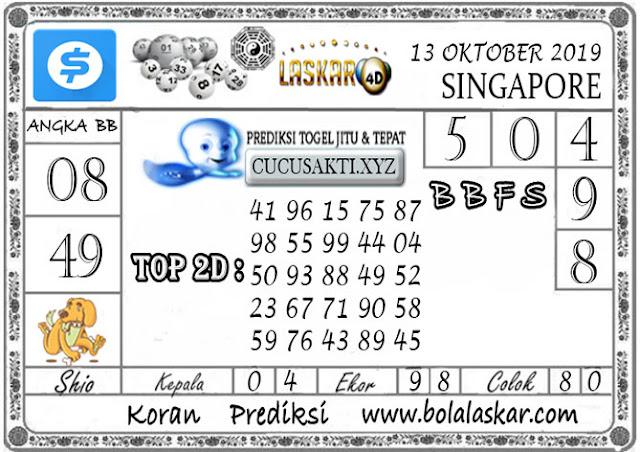 Prediksi Togel SINGAPORE LASKAR4D 13 OKTOBER 2019