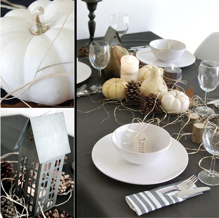 como decorar mesa para halloween con elementos naturales y colores tierra.