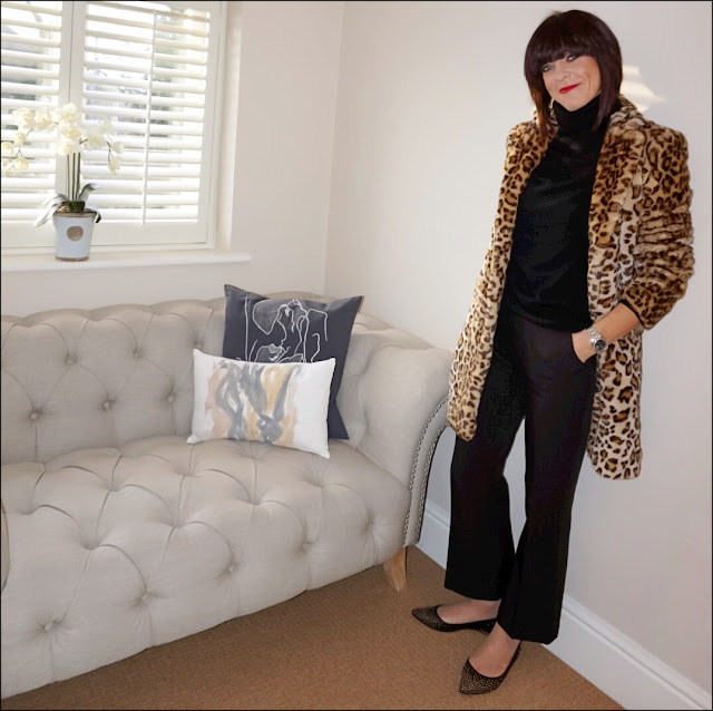 My Midlife Fashion, Zara faux fur leopard print coat, primark polo neck jumper, whistles kick flare cropped trousers, boden studded flats