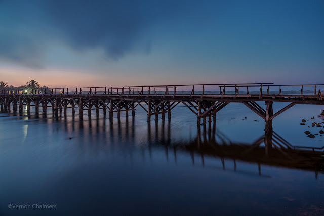 Image: Copyright Vernon Chalmers - The Old Wooden Bridge After Sunset: Woodbridge Island, Cape Town