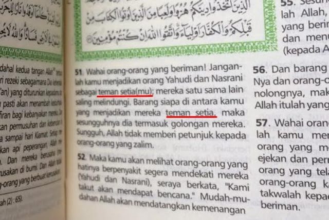 Netizen Heboh, Beredar Al Qur`an dengan Tafsir Surat Al Maidah ayat 51 yang Dibelokkan